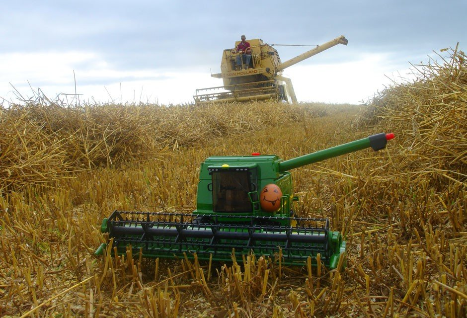 Ernie goes combining